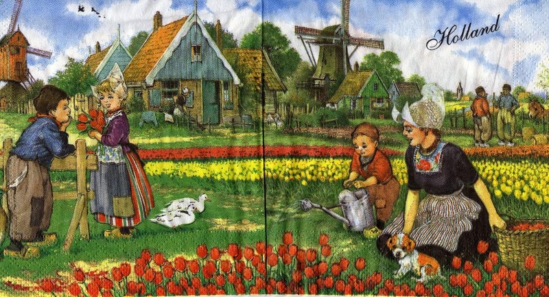 holland windm hle tulpen hund rarit t sonjas servietten shop. Black Bedroom Furniture Sets. Home Design Ideas