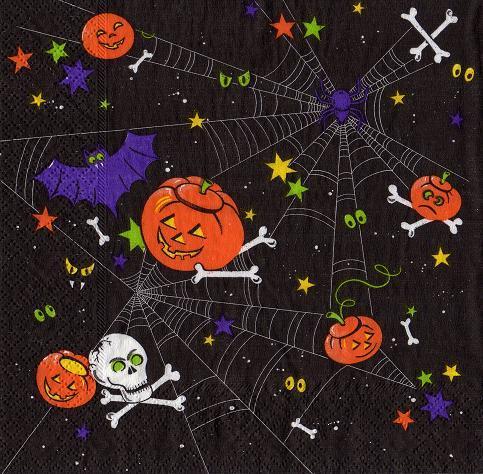 halloween spinnennetz knochen augen sonjas servietten shop. Black Bedroom Furniture Sets. Home Design Ideas