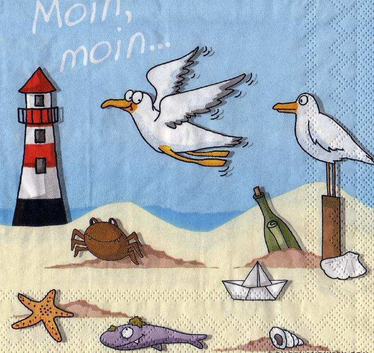 MOIN MOIN ... Leuchtturm Möwe Strand - Sonjas Servietten Shop